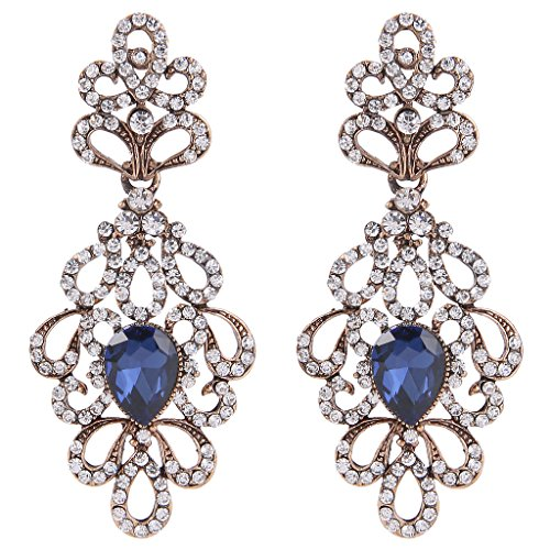 BriLove Women's Wedding Bridal Dangle Earrings Vintage Style Floral Hollow Crystal Teardrop Chandelier Earrings Navy Blue Sapphire Color ()
