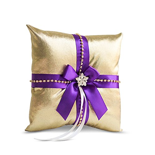 Alex Emotions Gold & Purple Jewel Wedding Ring Bearer Pillow and Flower Girl Basket Set - Satin &Ribbons - Pairs Well with Most Dresses & Themes - Splendour Every Wedding Deserves by Alex Emotions (Image #1)