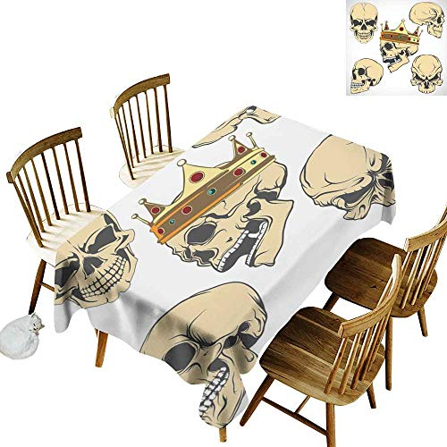 (W Machine Sky Waterproof Tablecloth Skull Skulls Different Expressions Evil Face Crowned Death Monster Halloween Print W60 xL90 for Family Dinners,Parties,Everyday)