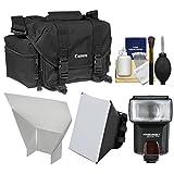 Canon 2400 Digital SLR Camera Case Gadget Bag + Flash + Soft Box + Reflector Kit for EOS 6D, 7D, 77D, 80D, 5D, Rebel T6, T6i, T6s, T7i, SL1, SL2