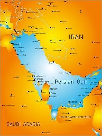 Posterlounge Alu Dibond 90 X 120 Cm Persischer Golf Karte Von