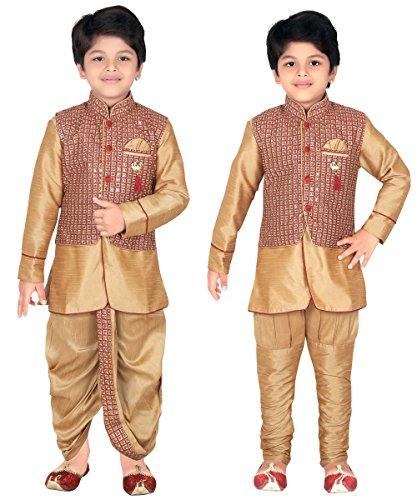 AHHAAAA Kids Indian Ethnic Waistcoat, Kurta, Breaches and Dhoti Pant Set for Baby Boys(7, Gold)