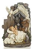 "Roman 6"" x 4"" Resin Baby Jesus in a Manger Figurine"