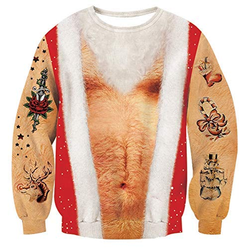 RAISEVERN Unisex Ugly Christmas Hairy Chest Sweater Funny Santa Claus Tattoo Crewneck Pullover Sweatshirt ()