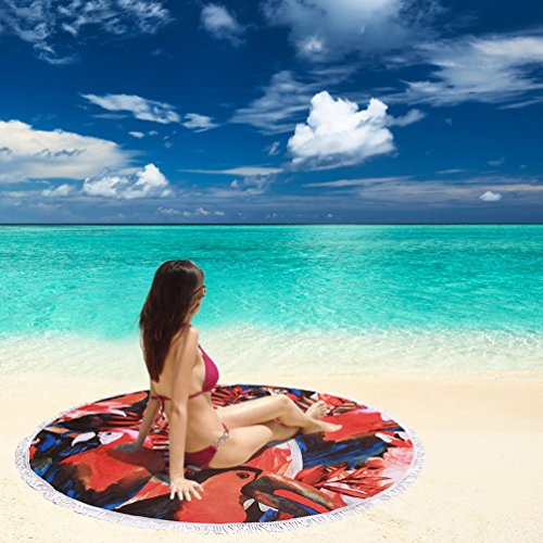 Genovega Thick Terry Round Beach Towel Blanket with Fringe Hawaiian Tropical Aloha