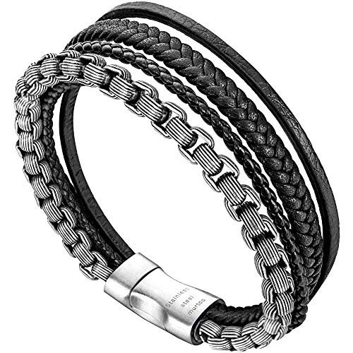(murtoo Leather Bracelet Magnetic-Clasp Cowhide Braided Multi-Layer Wrap Mens Bracelet, 7.5-8.7 Inches (Black-Silver 8