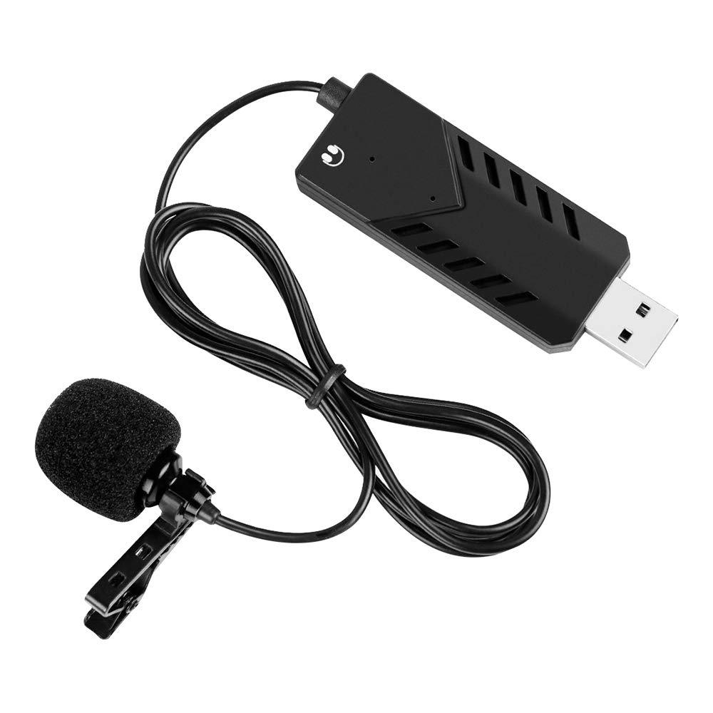 Leepesx Condensatore clip-on portatile Microfono cardioide USB Computer Risvolto Mic Singola testa Plug and Play con clip audio Scheda audio compatibile con PC Mac per la registrazione Chat Intervista