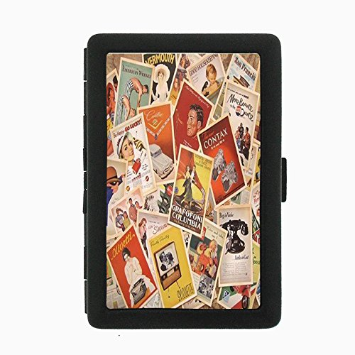 Perfection In Style Black Color Metal Cigarette Case D-007 Vintage Retro Old Europe Posters Travel Postcards