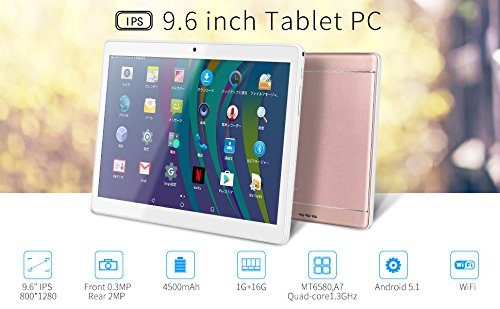 Price comparison product image Yuntab K98 9.6 Inch A7 MT6580,1.3Ghz Quad Core Google Android 5.1 Tablet PC,1G+16G,HD 800x1280,Dual Camera,4500MAh Battery,WiFi,GPS,G-Sensor,Support SD/MMC/TF Card (Rosegold)