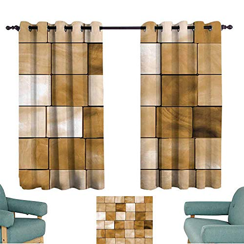Beige Decor Collection Sliding Curtains Faded Tiles Wood Cubes Squares Geometric Inspired Modern Simple Urban Boho Chic Art Decorative for Living, Dining, Bedroom (Pair) 72