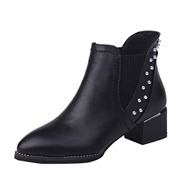 10d475ff014 Women s Fashion Rivets Shoes Pointed-Toe Flat Non-Slip Leather Martin  Booties