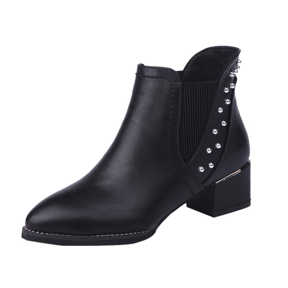 Winter Sale Women's Fashion Rivets Shoes Pointed-Toe Flat Non-Slip Leather Martin Booties
