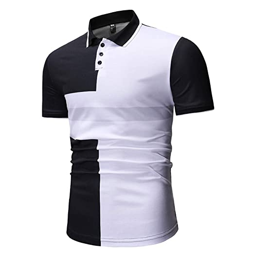 fba95bd1 Polo Shirt for Men Splice Slim Fit Casual Short Sleeve Top at Amazon Men's  Clothing store: