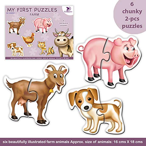 Toykraft: My First Puzzles - Farm are 2 Piece self-Correcting Puzzles of 6 Farm Animals for 2 to 4 Year olds. Improves fine Motor Skills, Eye-Hand Coordination for Toddlers