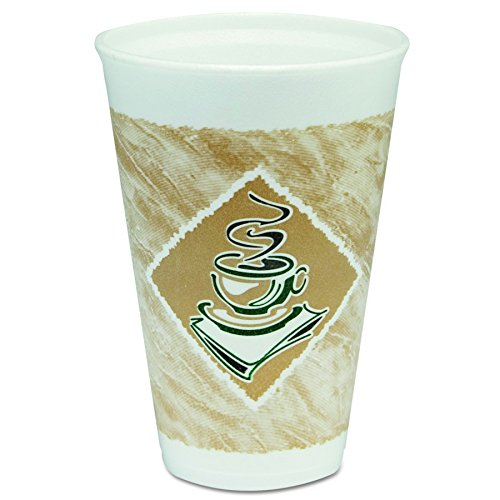 Dart 16X16G Café G Foam Hot/Cold Cups, 16oz, White w/Brown & Green (Case of 1000)