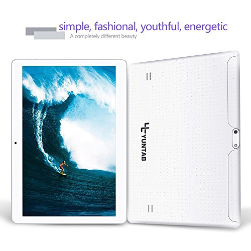 Yuntab K107 10.1 Inch Quad Core CPU MT6580 Cortex A7 Android 5.1,Unlocked Smartphone Phablet Tablet PC,1G+16G,HD 800x1280,Dual Camera,IPS,WiFi,G-sensor,GPS,Support 3G Dual SIM Card(White) by Yuntab (Image #2)