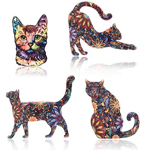 4 Pcs Creative Cat Pattern Brooch Pin Acrylic Flowers Decal Lapel Pin Badge Set for Gift Daily Dress Cloth - Acrylic Brooch