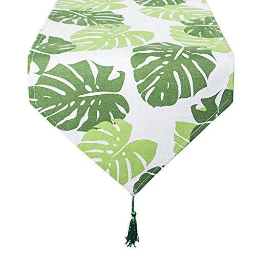 leegleri 72 inch Green Palm Leaf Table Runner for Dining,Weeding,Hawaiian Luau Party and Home -