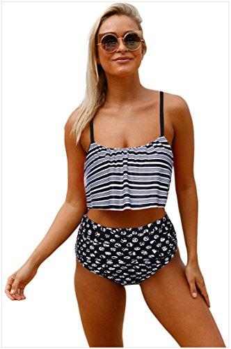 Due Blu Imbottito Da Bagno Up Reggiseno Swimsuit Set Costumi Rosa Striscia Monokini da Donne Bikini Striscia Nero Ragazze Pezzi Spiaggia Costume Bagno Push wqPXRxE