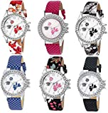 Swadesi Stuff Multi Color Stylish Luxury Fashion Watch Combo of 6 Watches fir Women & Girls