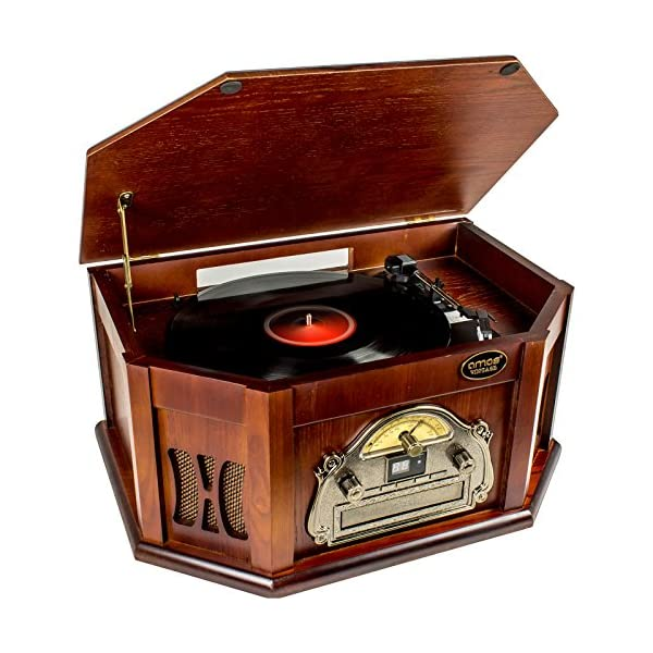 AMOS Retro Look Wooden Turntable 3 Speed Record Player Vinyl & CD to MP3 Converter with Stereo Speakers Bluetooth 4.1 AM/FM Radio USB Port SD Card Slot RCA Out