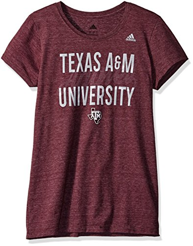 - adidas NCAA Texas A&M Aggies Script Tail Overlay Cap Sleeve Tee, Medium, Maroon