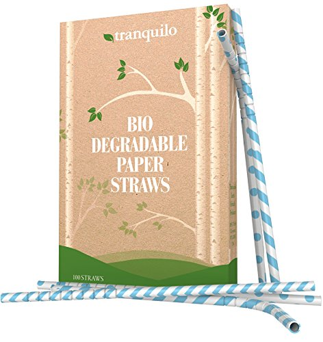 [Tranquilo Biodegradable Paper Straws - Blue (Box of 100)] (Cup Halloween Sipper)