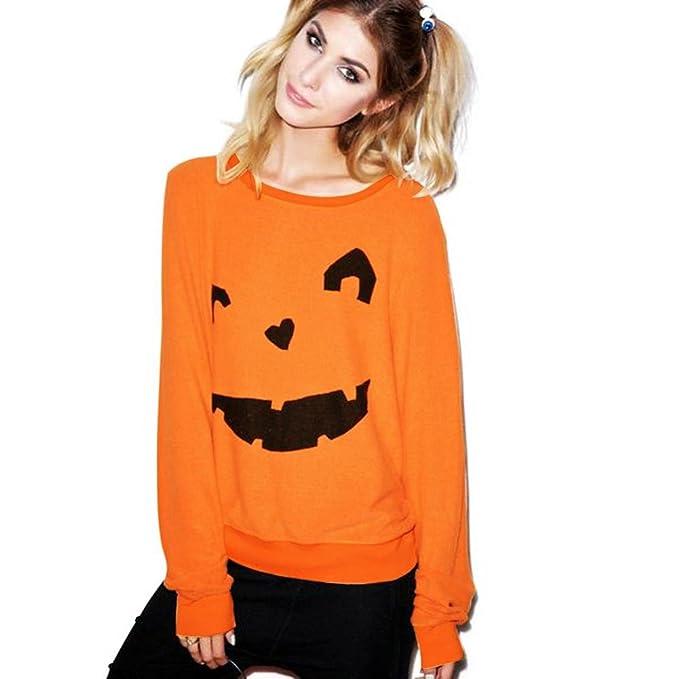 Koly 2017 Las mujeres de halloween calabaza de impresión sudadera manga larga Camiseta blusa Tops Jersey
