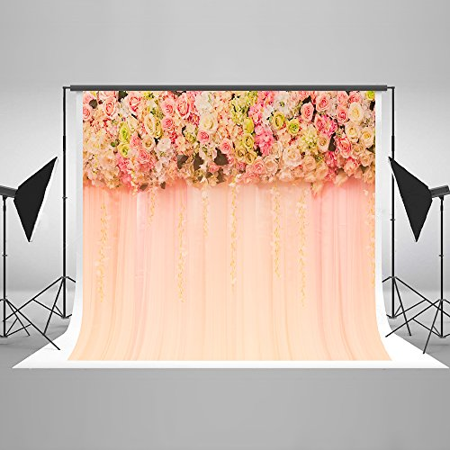 7ft(W) x5ft(H) Pink Wedding Photography Backdrops Flowers Curtain Bridal Shower Background Girl Birthday Photo Booth Props for Wedding,Only1ps Print Background Without Fresh Flower Decoration -