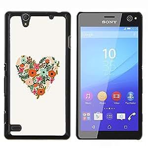 Patrón floral de la primavera Summer Love- Metal de aluminio y de plástico duro Caja del teléfono - Negro - Sony Xperia C4 E5303 E5306 E5353