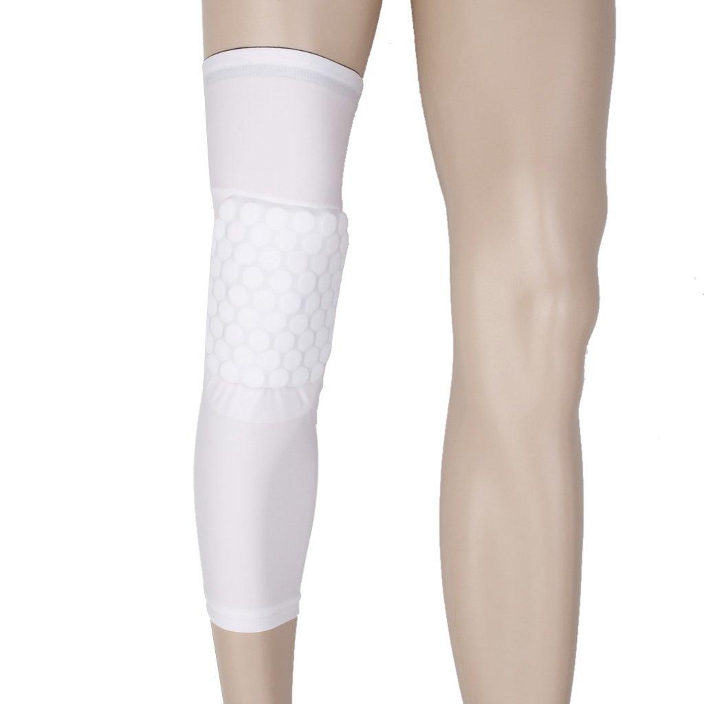 Rodillera Protectora Almohadilla de Rodillas Antideslizante para Deportes Baloncesto Blanca M