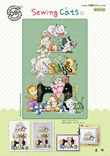 SO-G122 Sewing Cats, SODA Cross Stitch Pattern leaflet, authentic Korean cross stitch design chart color printed on coated paper