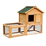 Pawhut Wooden Bunny Rabbit Hutch w/ Outdoor Run