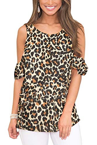 (For G and PL Womens Casual Swing Loose Cold Shoulder Shirt Short Sleeve Flowy Printed Tunic Tops Leopard)