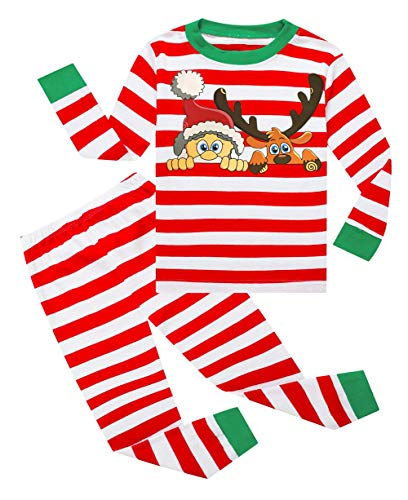 Lymanchi Kid Boys Pajamas Christmas Cotton Striped Cute Unisex Sleepwear Set 2-7Y 147 Elk Red 4T]()