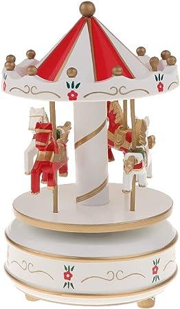 PETSOLA Mecanismo De Caja De Música De Madera - Caja De Música De Carrusel Giratorio 4 Caballos con Melodías - Caja De Música De Cuerda - Rosa/Azul/Rojo - Rojo: Amazon.es: Hogar