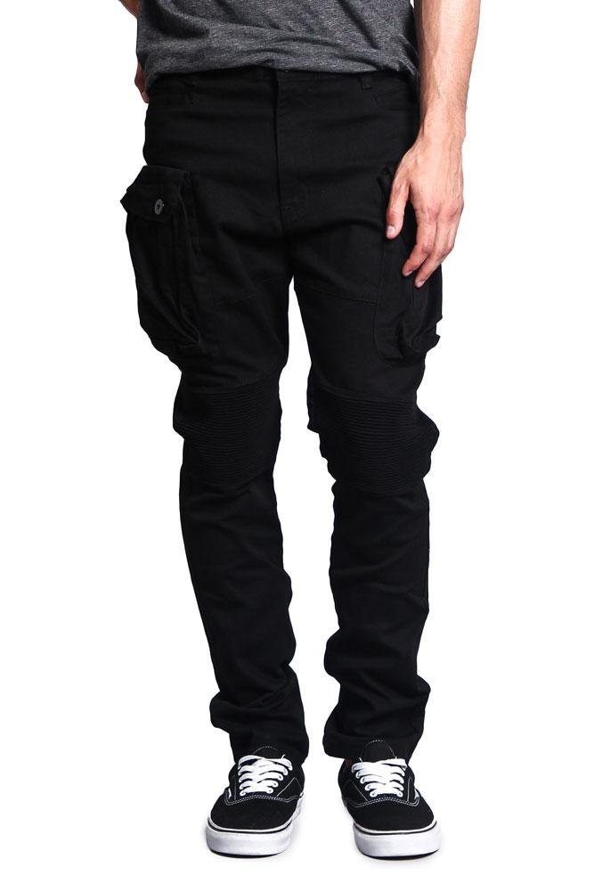 G-Style USA Men's Big Cargo Pocket Pants DL1065 - Black - 32/30 - H8D