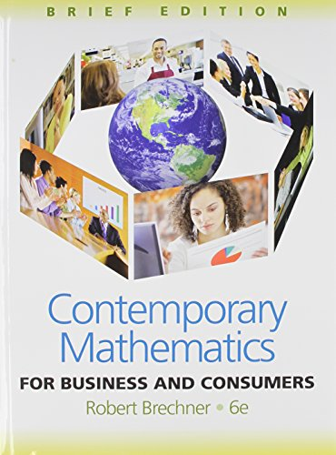 Bundle: Contemporary Mathematics for Business and Consumers, Brief Edition + Printed Access Card CengageNOW featuring Ma