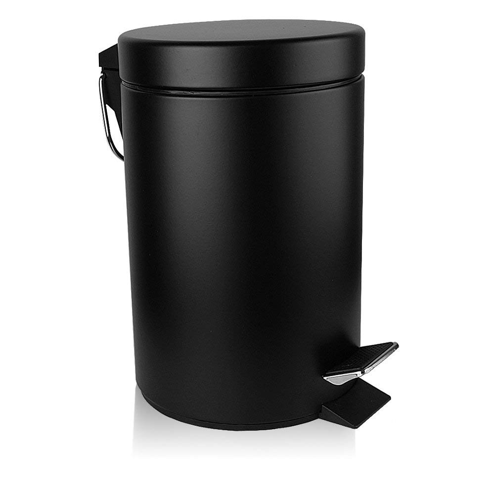 H+LUX Mini Trash Can with Lid Soft Close, Round Bathroom Trash Can with Removable Inner Wastebasket, Anti-Fingerprint Matt Finish, 0.8Gal/3L, Black by H+LUX