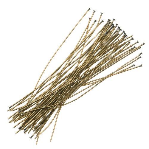 - Beadaholique HP20/200AB 50-Piece Head Pins, 24-Gauge, 2-Inch, Antiqued Brass