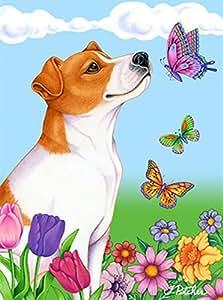 Jack Russell–mejor de raza mariposas bandera de Jardín