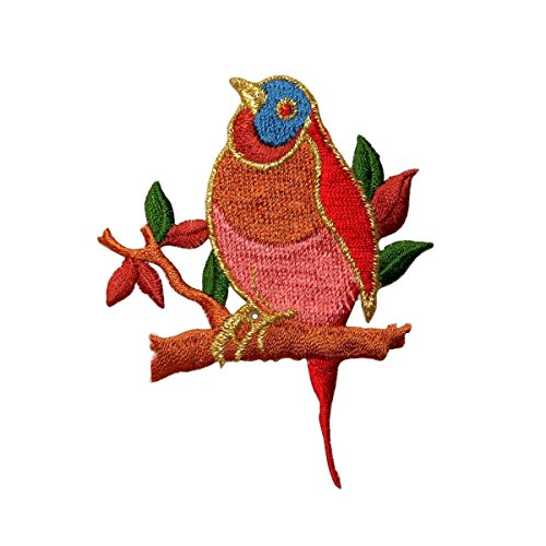 (ID 0499B Bird On Limb Patch Peace Dove Robin Embroidered Iron On Applique)
