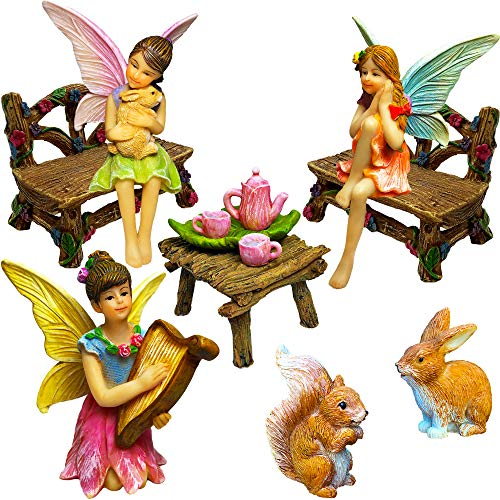 Mood Lab Fairy Garden - Miniature Figurines and Accessories Starter Kit - Fairy Garden Set of 12 pcs (Gardens Fairies For Miniature)