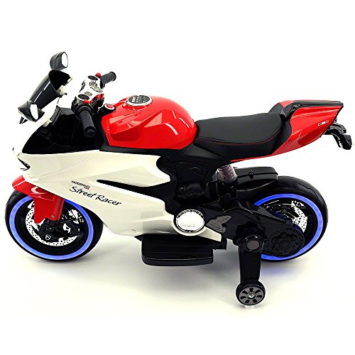 2018 Racing Style Kids Ride-On Motorcycle Toy for Kids | Leather | LED Body Kit | 12V Powered | 2 Wheels | Training Wheels | (Red)