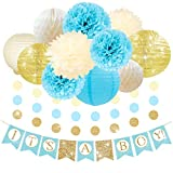 NICROLANDE Boy Baby Shower Decorations Pack for Gold Glitter IT'S A BOY Banner, Blue Pom Poms Tissue Paper Flowers, Gold Lanterns Lamp Shade, Honeycomb Ball and Garlands Streamer, Baby Shower Supplies