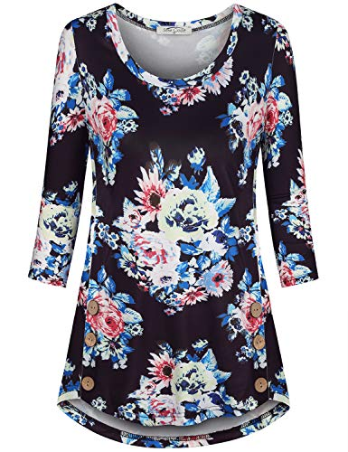 (SeSe Code Long Sleeve T Shirts for Women,Flower Print Tunic Crewneck Pregnant Mom Shirt Exotic Blouse Three Quarter Length Sleeves Button Side Dressy Black X-Large)