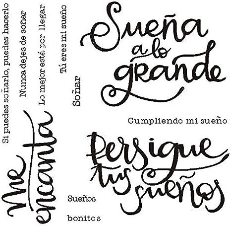Sello español 26 sello claro para Scrapbooking goma de silicona transparente DIY Album de fotos decoración B11: Amazon.es: Oficina y papelería