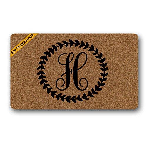(Artsbaba Personalized Monogrammed Doormat Leaves Ring Monogram Letter Non-Slip Doormat Non-Woven Fabric Floor Mat Indoor Entrance Rug Decor Mat 30