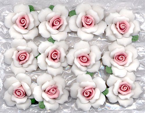 Porcelain Bisque 1 White and Pink Roses Add Beauty To Many Creative Crafts (PKG/12)