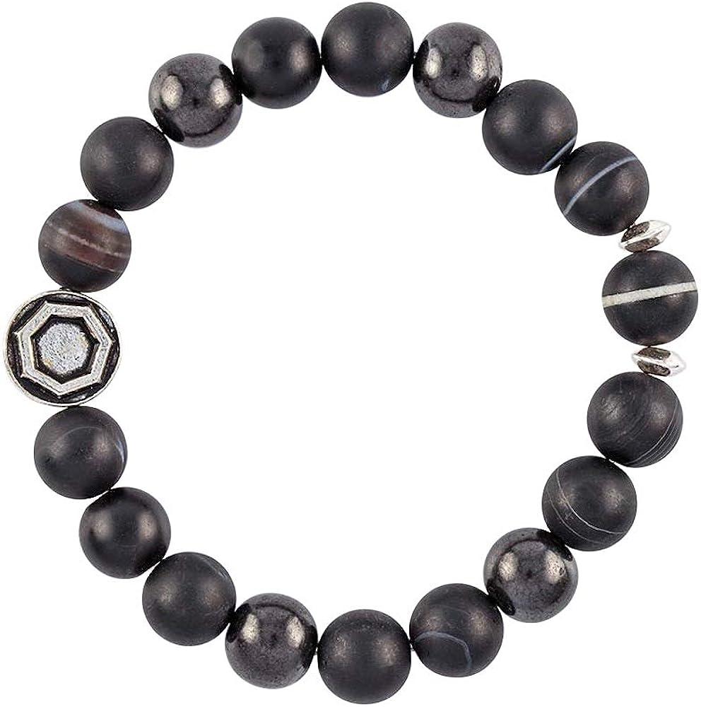 Modern ŌM Dzi Galaxy Mala Beads Bracelet for Men | Shungite Jewelry for EMF Protection, Black Sardonyx, Tibetan Dzi Bead for Strength & Rejuvenation | Authentic Shungite and Oxidized Sterling Silver